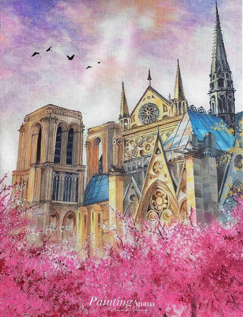 艾瑪 Amma-《聖母院前的櫻花樹下》Dreamy Cherry Blossoms at Notre-Dame de Paris